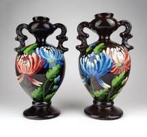 1D059 Régi kézzel festett virágdíszes kerámia díszváza pár