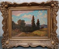 Rubovics Márk (1867-1947) Romantikus táj c. festménye