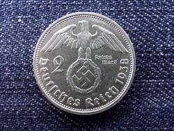 Németország nagyon szép Horogkeresztes .625 ezüst 2 birodalmi márka 1938 D (id13741)