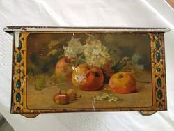 Réges-régi fémdoboz fellelt állapotban, különféle gyümölcs csendéletekkel