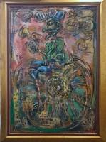 Tóth Ernő - Egykerekű 130 x 90 cm olaj, farost, keretezve