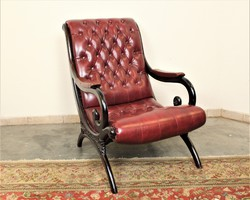 A124 Chesterfield antik burgundi színű bőr pihenő szék