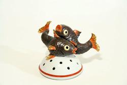 1930. Antik Herendi Ikebana Halakkal Porcelán Halas Virágtartó Koi Ponty 13x17cm