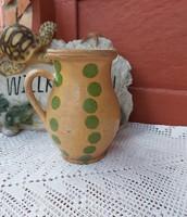 17 cm magas ritka zöld pöttyös kerámia szilke köcsög korsó nosztalgia, paraszti dekoráció