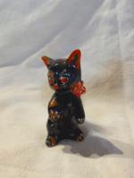 Kerámia fekete foltos cica  toll farkincával
