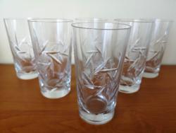 6 db metszett, kristály üdítős vagy vizes pohár