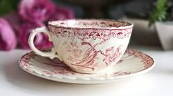 Antik Sarreguemines Fontanges nagy 11cm-es teás csésze+alj