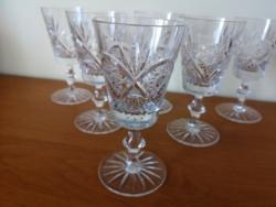 6 db metszett, kristály talpas pohár, pezsgős pohár