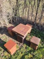 Modern Zsolnay pirogránit kerti asztal 4db ülőkével