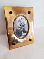 Antik réz asztali szentkép keret 19. sz-i metszettel, üveg gyöngyökkel