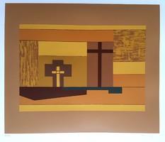 Barcsay Jenő - Sárga kép 33 x 39 cm színes szita 1970
