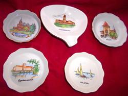 5 db Aquincumi városkép-tájkép mintával  porcelán tál tálka-kézi festett