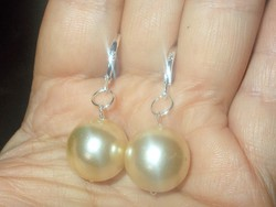 Krémszínű Óriás Shell Pearl Gyöngy 925 Fülbevaló