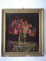 Szignózott virág csendélet olaj festmény