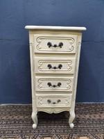Vintage Provence kézzel festett és vakszolt komód, szekrény, smizett