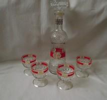 Üveg rövid italos,likőrös,konyakos készlet,4 személyes (pohár,butella,flaska)