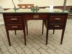Jellegzetes antik szecessziós Lingel kis méretű íróasztal, üveglappal, SZÁLLÍTÁSSAL!
