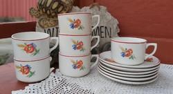 Ritka Gránit pipacsos  6 db-os  teáscsésze szettek szett csésze Nosztalgia