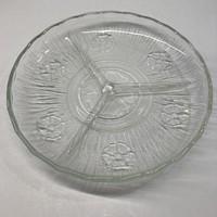 Üveg kínáló, három rekeszes, anyagában virágmintás