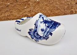 Holland Delft kézzel festett porcelán papucs hamus hamutál