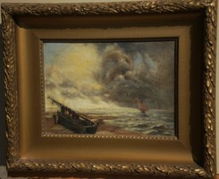 Olvashatatlan jelz. (1900 körül) : Viharos tengerpart