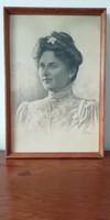 Antik női ceruza portré 1956 ból szignós