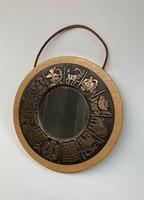 Horoszkópos, iparművészeti tükör réz betéttel
