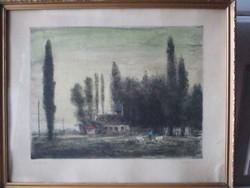 """Konecsni György /1908-1970/nagyon szép képe """"Szigliget/ 52 x 42 cm."""