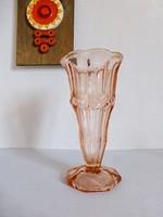 Gyönyörű antik,rózsaszín üveg talpas váza