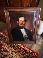 Biedermeier férfi portré szignózott és datált 1850