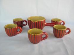 Retro Tófej kerámia kávéskészlet 5 db csésze + kiöntő