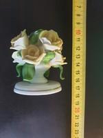Herendi 7922-es 7cm sárga rózsa gyertyatartó