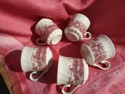 5 darab angol jelenetes porcelán csésze