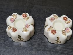 Zsolnay Virágmintás MINI gyertyatartók párban 3,8 cm