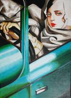 Zöld Bugatti LEMPICKA festményének másolata EREDETI olajfestmény