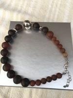Ezüst nyaklánc, nyakék barna agate-val  (Silpada)