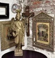 90 cm magas fából faragott templomi angyal szobor az 1900-as évek elejéről. Igazi ritkaság!!!