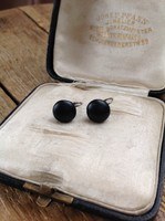 Antik fekete gyász fülbevaló ezüst szerelékkel