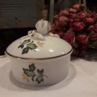 Erika mintás Hollóházi gyűrű/ékszertartó rózsa fogantyúval