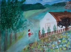 "Kata Szabo: ""home"" oil - acrylic painting, canvas, 40 x 50 cm, signed"