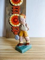 Antik hibátlan állapotú Komlós kerámia kisfiú figura