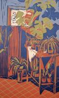 Litkei József (1924-1988): Csendélet - színes linóleummetszet