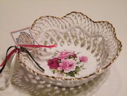 Rózsás Mystic Blue Hungary áttört szélű porcelán tálka