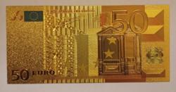 24 karátos aranyozott 50 Euró bankjegy, replika