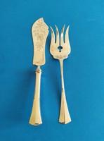 Ezüst hal tálaló kés villa