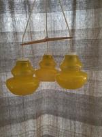 Retro hibátlan 3 ágú, búrás sárga mennyezeti lámpa