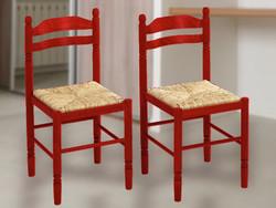 2 db piros tömörfa szék fonott üléssel 2000 FT/DB