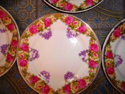 Biedermeier 9 db rózsa-ibolya mintás porcelán tányér 18,5 cm