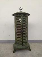 Antik vaskályha henger alakú zöld zománc vas kályha kandalló tartó keret dekoráció virágtartó lámpa