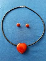 Barna, vöröses mokait jáspis, medál nyaklánc, fülbevaló (szett)